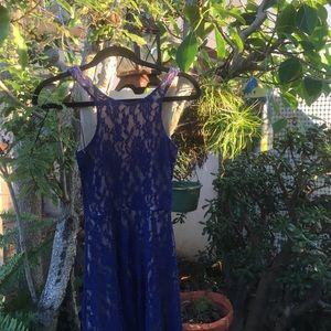 Blue Lace Mini Dress - low back !